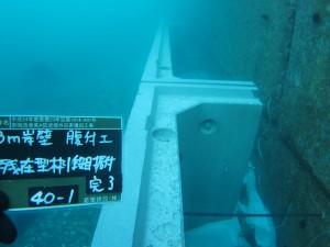残置型枠の設置状況(水中)